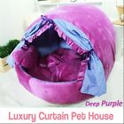 Luxury Pet Bed Deep Purple Curtain House Large Plush Soft Cave Bed for Dog Cat