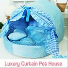 Luxury Pet Bed Sky Blue Curtain House Large Plush Soft Cave Bed for Dog Cat