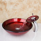 New Bathroom Tempered Glass Basin Set Vessel Vanity Sink bowl With Faucet L-615