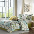 BEAUTIFUL 6PC BLUE GREEN BROWN TEAL YELLOW MODERN FLORAL QUILT QUEEN & KING SIZE