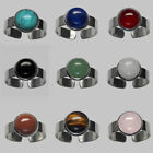 10mm ROUND GEMSTONE CABOCHON PLATINUM PLATED ADJUSTABLE RING 9 STONES TO CHOOSE