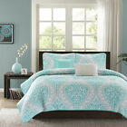 MODERN CHIC BLUE TEAL AQUA WHITE GREY BEACH OCEAN TEXTURED QUILT SET