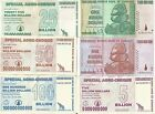 6 DIFFERENT ZIMBABWE BILLION DOLLAR BANKNOTES HYPER INFLATION COLLECTION