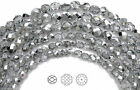 Czech Fire Polished Round Faceted Glass Beads Crystal Labrador CAL Half Silver