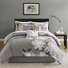 BEAUTIFUL MODERN CHIC GREY BLACK WHITE PURPLE FLORAL FLOWER 7PC COMFORTER SET