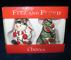 FITZ AND FLOYD CHRISTMAS CHEERS SALT & PEPPER SHAKERS - NEW IN BOX