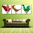 COCKTAIL GLASS ready to hang 3 piece wall art mounted on MDF Improved canvas art