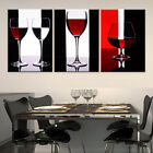 Wine Glass ready to hang 3 piece MDF mounted wall art surpassed stretched canvas