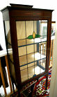DISPLAY China CABINET STAINED GLASS EDWARDIAN Mahogany Boxwood Inlay Unique DECO
