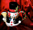 FITZ & FLOYD SNOWMAN 2 PC CHOCOLATE POT w/LID CUP/MUG CHRISTMAS HOLLY  FF