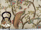 Drapery Upholstery Fabric Birds and Berries Embroidered Jacquard Ivory Multi