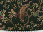 Drapery Upholstery Fabric Birds and Berries Embroidered Jacquard Black Multi