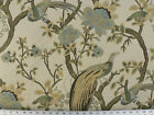 Drapery Upholstery Fabric Birds and Berries Embroidered Jacquard Celery Multi