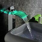 Bathroom LED 3 Color Waterfall Glass Spout Chrome Finish Basin Sink Faucet Taps