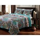 BEAUTIFUL 5pc EXOTIC GLOBAL VIBRANT TEAL BLUE FLORAL MOROCCAN BOHEMIAN QUILT SET