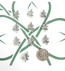NEW 10 TIBET SILVER LUCKY 4 LEAF CLOVER CHARMS CUTE