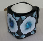 Coffee Tea Black Mug Cup Blue Glitter Flowers Hand Painted