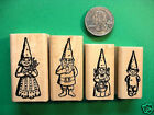 Gnome Family Rubber Stamps four wood mounted