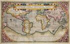 HUGE historic 1589 WORLD MAP OLD ANTIQUE STYLE WALL MAP FINE art print POSTER