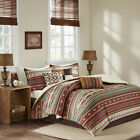 BEAUTIFUL SOUTHWEST ARIZONA NATIVE CABIN LODGE RED RUST TEAL BLUE COMFORTER SET