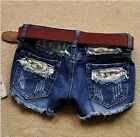 Sexy Style Lace Women Ripped Denim Jeans Short Lady Trousers Boots Pant S M L XL