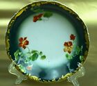 V, Limoges, Hand-painted, signed, rich green, gold border, flowers, bowl