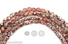 Czech Fire Polished Round Faceted Glass Beads in Crystal SunSet Metallic 16str