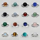 10mm ROUND GEMSTONE 925 STERLING SILVER ADJUSTABLE RING 9 CABOCHONS TO CHOOSE