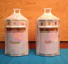 Oatmeal & Coffee Canisters  Made in Germany Iridescent white with gold trim