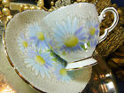 TUSCAN TEA CUP AND SAUCER HP PURPLE AND WHITE DAISY GOLD TRIM VINTAGE