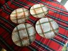 Set of 4 Blue Ridge Southern Potteries Rustic Plaid Brown & Green Dinner Plates