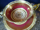 PARAGON TEA CUP AND SAUCER ELEGANT RED CREAM SNOWFLAKE LUSH GILT QUEEN MARY 1939