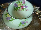 PARAGON TEA CUP AND SAUCER PALE BLUE  SWEET PEAS PLATINUM GILT QUEEN MARY 1939