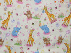 Animal Birthday Party flannel cream elephant giraffe bear balloons gifts 1/2 YD