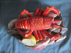 Antique French Palissy Majolica Porcelain Tureen Lid, Fish, Lobster and Shrimp