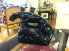 Vintage Mid Century Glossy Black Panther Ceramic Pottery TV Lamp - 1950s