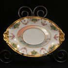 LIMOGES L.S. & S. COIFFE Oval TRAY 1891-1914 Embossed Handles GOLD Gadroon Rim