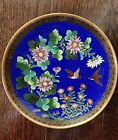 Colorful c 1930 Japanese Cloisonne Plate, Birds, Flowers