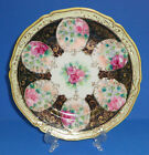 ANTIQUE NIPPON PORCELAIN PLATE COBALT HAND PAINTED GOLD ROSES BEADED JAPAN 1891-