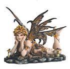 11 Inch Brown Winged Nude Autum Fairy on Leaves Mushroom Figurine Statue Figure