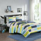 BEAUTIFUL MODERN TEAL BLUE AQUA GREY CHEVRON STRIPE BOYS QUILT SET W PILLOW NEW