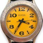 GUESS Antique Gold Brass YELLOW ORANGE Dial Man Men WATCH Breaded Leather Band