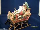 Fitz and Floyd ~ Santa ~ Christmas Lodge Sleigh Musical ~Here Comes Santa Claus