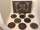 Beautiful Vintage Black Lacquer Indonesian Tray & Small Plates
