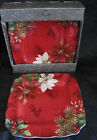 4 pc 222 FIFTH Red Square Dinner Plates Poinsettia Holly Christmas Flowers