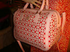 NWT TORY BURCH Kelsey Middy SAFFIANO Cutout Leather PINK/RED SATCHEL $550 DUST