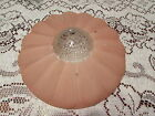 Vintage Antique Art Deco Pink Glass Scallops Hanging Ceiling Light Fixture Shade