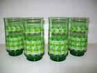 Vtg LIBBEY Retro 60s 70s Green White Plaid Daisy Glass Tumblers / Set of 4