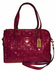 $428 NWT COACH Peyton Embossed Patent LEATHER Satchel PASSION BERRY PURSE F26962