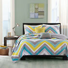BEAUTIFUL 5pc MODERN BLUE TEAL GREY YELLOW AQUA WHITE CHEVRON STRIPE QUILT SET
